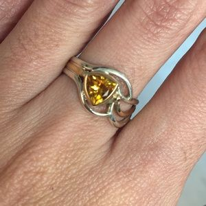 925 Sterling Silver Genuine Citrine Two Tone Ring